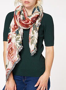 Multicoloured Woven Floral Scarf