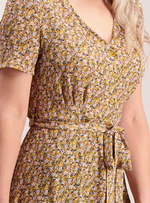 PETITE Online Exclusive Mustard Floral Tea Dress