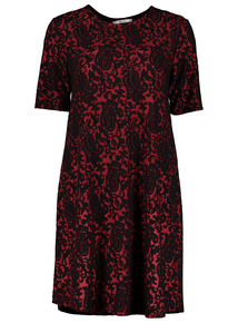 Online Exclusive Red Floral Jacquard Swing Dress