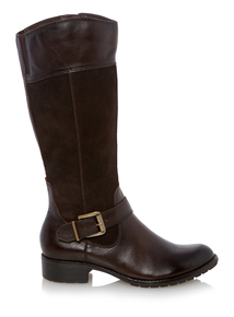 Brown Suede Mix Calf-Length Boots