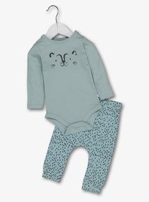 Green Leopard Spot Body & Trousers Set (0-24 months)