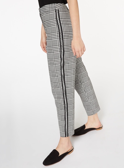 Dogtooth Side Stripe Tapered Trousers