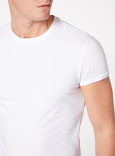 White Muscle Fit Tee