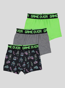 Multicoloured Game Over Trunks With Stretch 5 Pack (4-14 years)