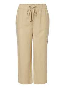 Stone Linen Cropped Trousers