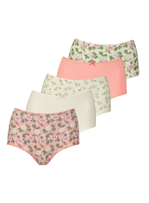 Full Briefs Floral and Plain 5 Pack