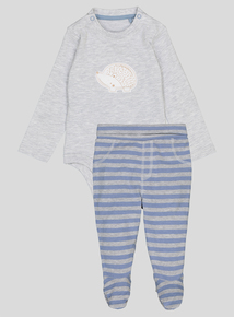 Grey & Blue Hedgehog Motif Jogger Set (0-24 months)