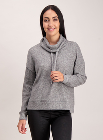 Grey Soft Touch Cowl Neck Jumper