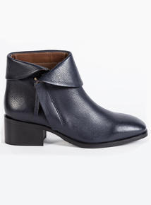 Premium Navy Blue Leather Ankle Boots