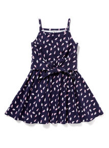 Navy Boat Print Dress (3-14 years)
