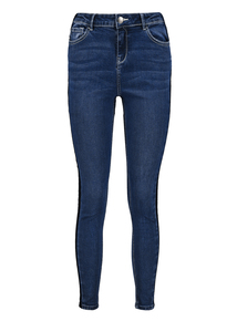 Blue Shadow Stripe Skinny Stretch Jeans