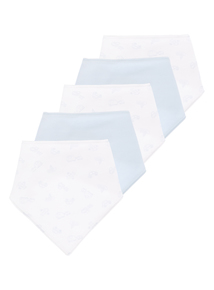 5 Pack Blue And White Hanky Bibs (0-24 months)