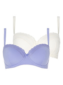 2 Pack Lace Trim Balcony Bra