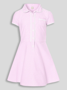 Online Exclusive Pink Plus Fit Gingham Dress (3-12 years)