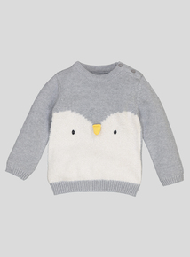 Grey Penguin Jumper (0-24 Months)