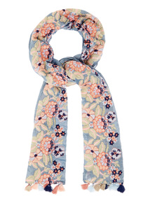 Blue Embroidered Chambray Scarf