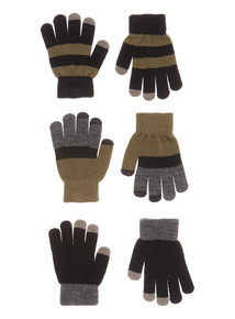 Khaki and Black Three Pack Magic Touch Gloves