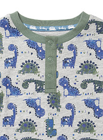 2 Pack Green Dinosaur Print Long-Sleeved Tops (0-24 months)