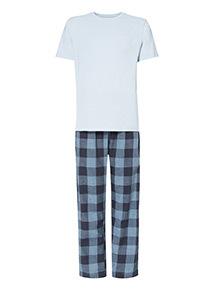 Blue Marl Tee and Check Trousers Pyjama Set