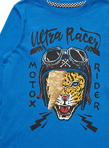 Blue Tiger Reversible Sequin Top (3-14 years)