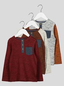 3 Pack Printed Raglan Long Sleeve T-Shirts (9 months- 6 years)
