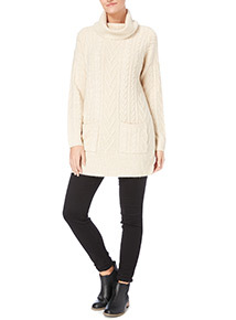 Oatmeal Cowl Neck Cable Knit Tunic
