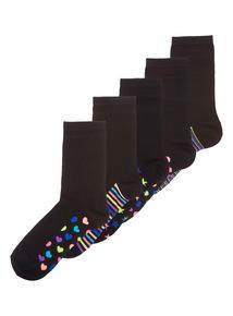 Womens Black Neon Geo Ankle Socks 5 Pack