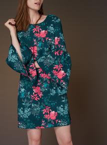 Premium Printed Frill Sleeve Dress