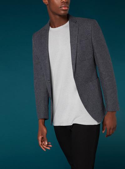 Premium Denim Blue Brushed Twill Slim Fit Jacket