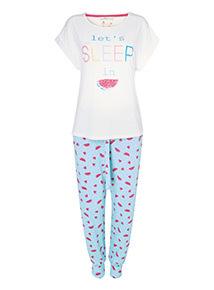 Multicoloured Slogan Pyjamas