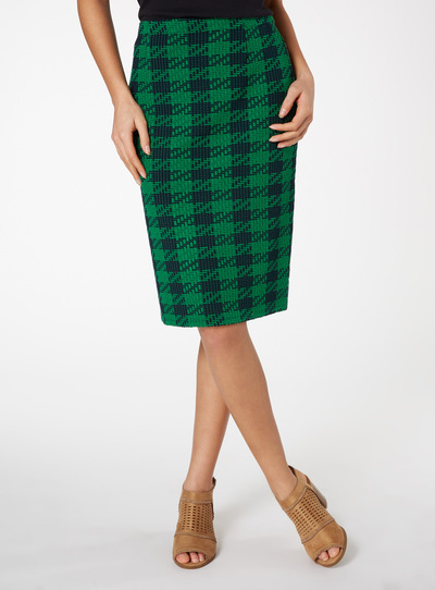 Green Dogtooth Pencil Skirt