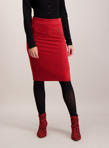 Red Jersey Cord Pencil Skirt