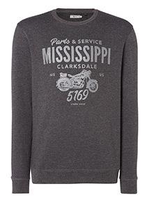 Grey 'Motorbike' Slogan Sweatshirt