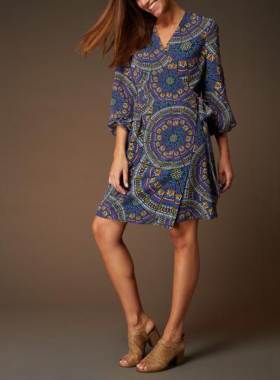 Premium Printed Wrap Dress