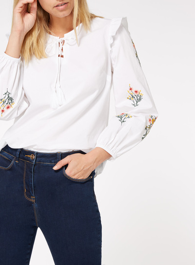 Floral Embroidered Frill Sleeve Blouse