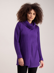 Purple Cowl Neck Wrap Tunic