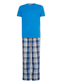 Blue T-Shirt and Check Trousers Pyjamas