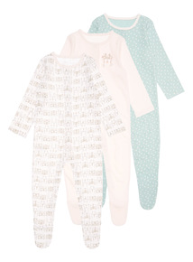 Pink Three Pack Nordic Fables Sleepsuit (0-24 months)