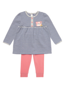 Navy Two Piece Stripe Top and Legging Set (0-24 months)