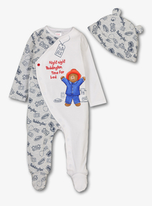 Paddington Bear White Sleepsuit   Hat Set (0-24 Months) cb7aa3c870e