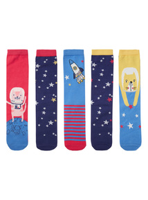 Multicoloured Space Cats Socks 5 Pack