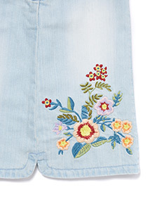 Denim Embroidered Pinafore (3-14 years)