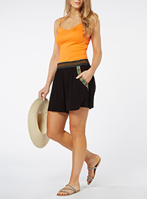 Black Embroidered Crinkle Shorts