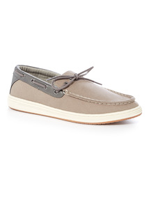 Sole Comfort Grey Canvas Boat Shoes