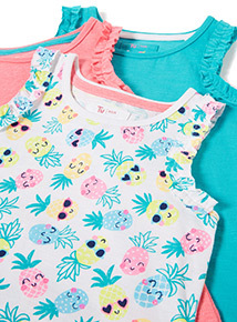 3 Pack Multicoloured Pineapple Print Vests (9 months-6 years)
