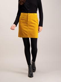 Mustard A-Line Corduroy Mini Skirt