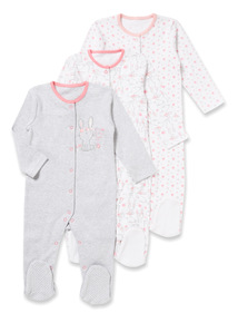 3 Pack Pink Bunny Sleepsuits (0-24 months)