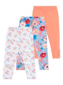 Girls Red Printed Leggings 3 Pack (9 months - 6 years)