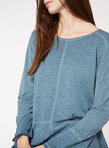 Blue Washed Peplum Top