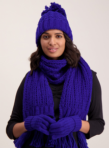 Cobalt Blue Knitted Gloves